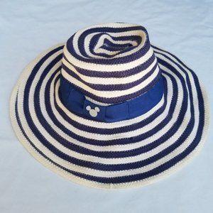 Disney Parks Woven Navy Blue Striped Floppy Hat